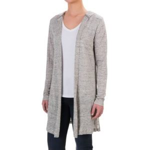 Cynthia Rowley linen open front hooded cardigan